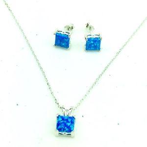 Genuine Gem Blue Opal Princess Pendant  Earrings